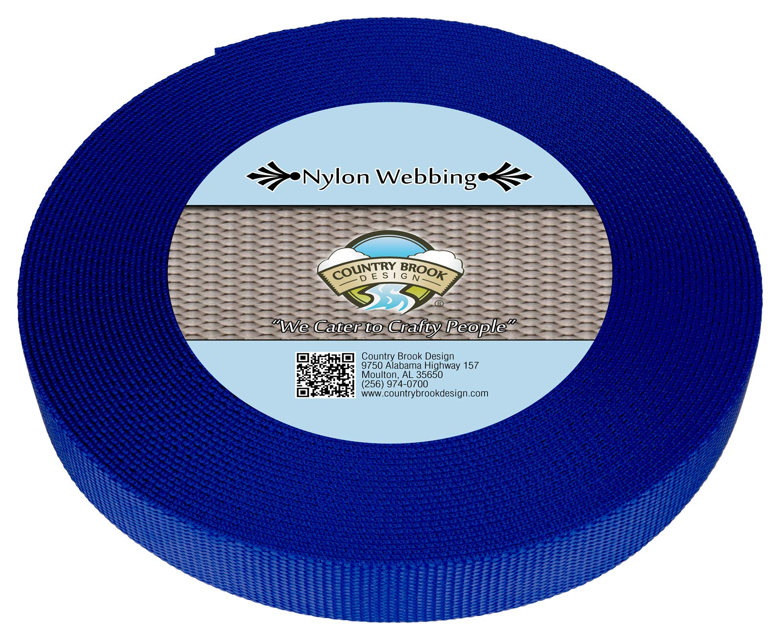 Country Brook Design   Bright Royal Blue 1 Inch Heavy Nylon Webbing (10 Yards)