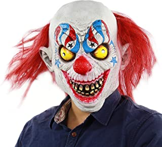 Qian Yu Halloween Horror Evil Joker Scary Circus Clown Mask Adult Costume Party Props