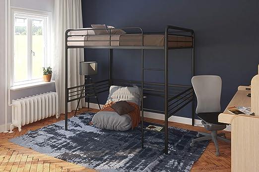 Amazon Com Dhp Full Metal Loft Bed With Ladder Space Saving Design Black Furniture Decor
