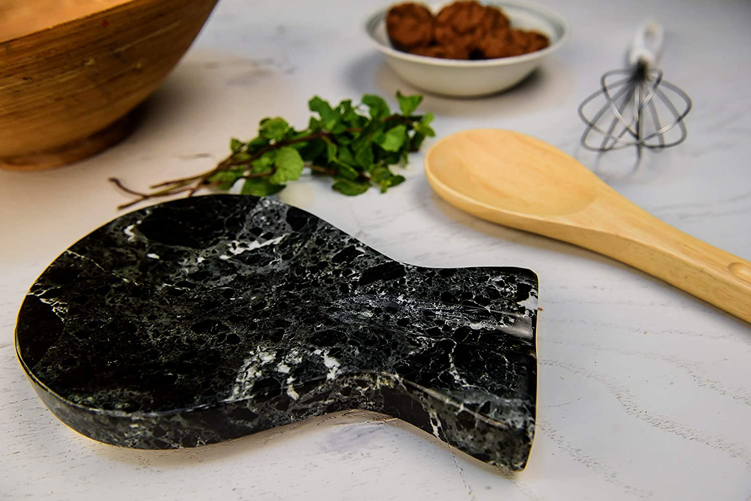 Non Wood Non Metal Cooking Spoon Organizer RADICALn Spoon Rest Handmade Marble Black Spatula Fork Ladle Utensil Rest Stove Top Chef Kitchen Tool Spoon Holder Black