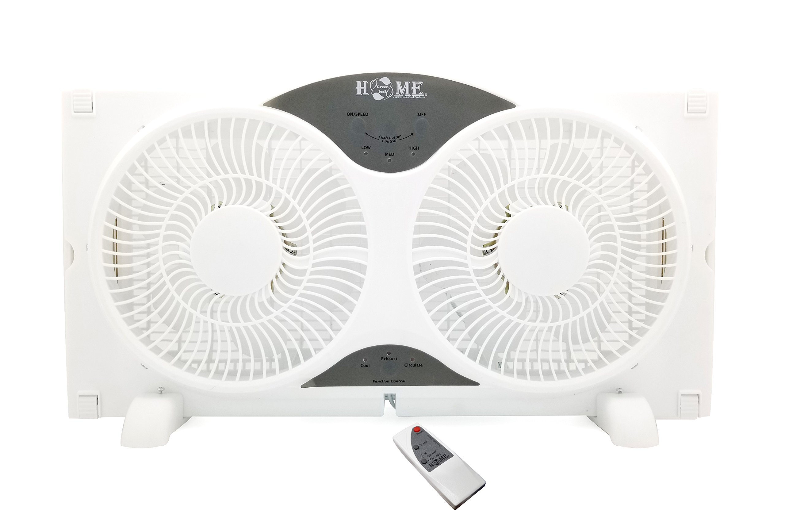 8061 9'' Twin Window Fan 3 Speed Dial with Remote Control,White by Unknown
