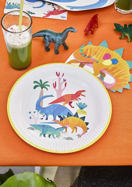 Talking Tables Dino Dinosaur Shaped Plate 12Pk Papier Mehrfarbig