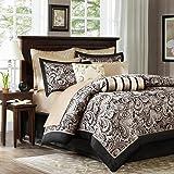 Madison Park Aubrey 12 Piece Jacquard Complete Bed Set, Queen, Black