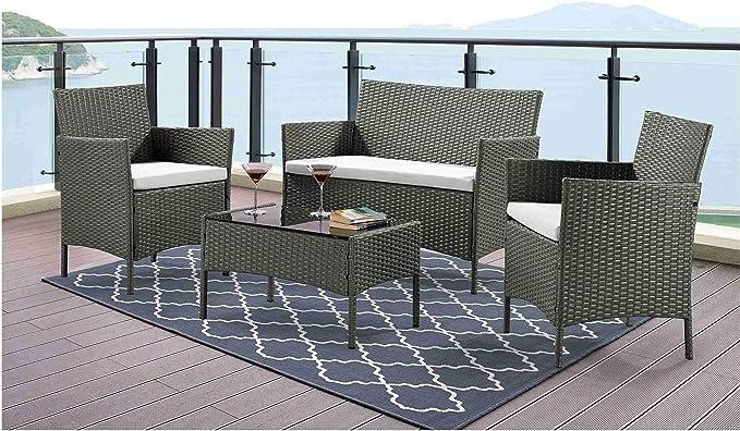 DecoInParis - Conjunto de Muebles de jardín (Resina Trenzada, 4 Personas): Amazon.es: Jardín