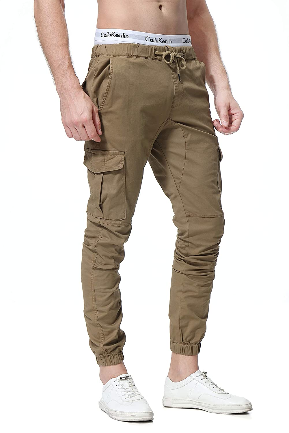 WESIDOM Mens Cargo Pants Jogger Jeans Combat Elasticated Waist Casual Trouser Outdoor Hiking Sweatpants