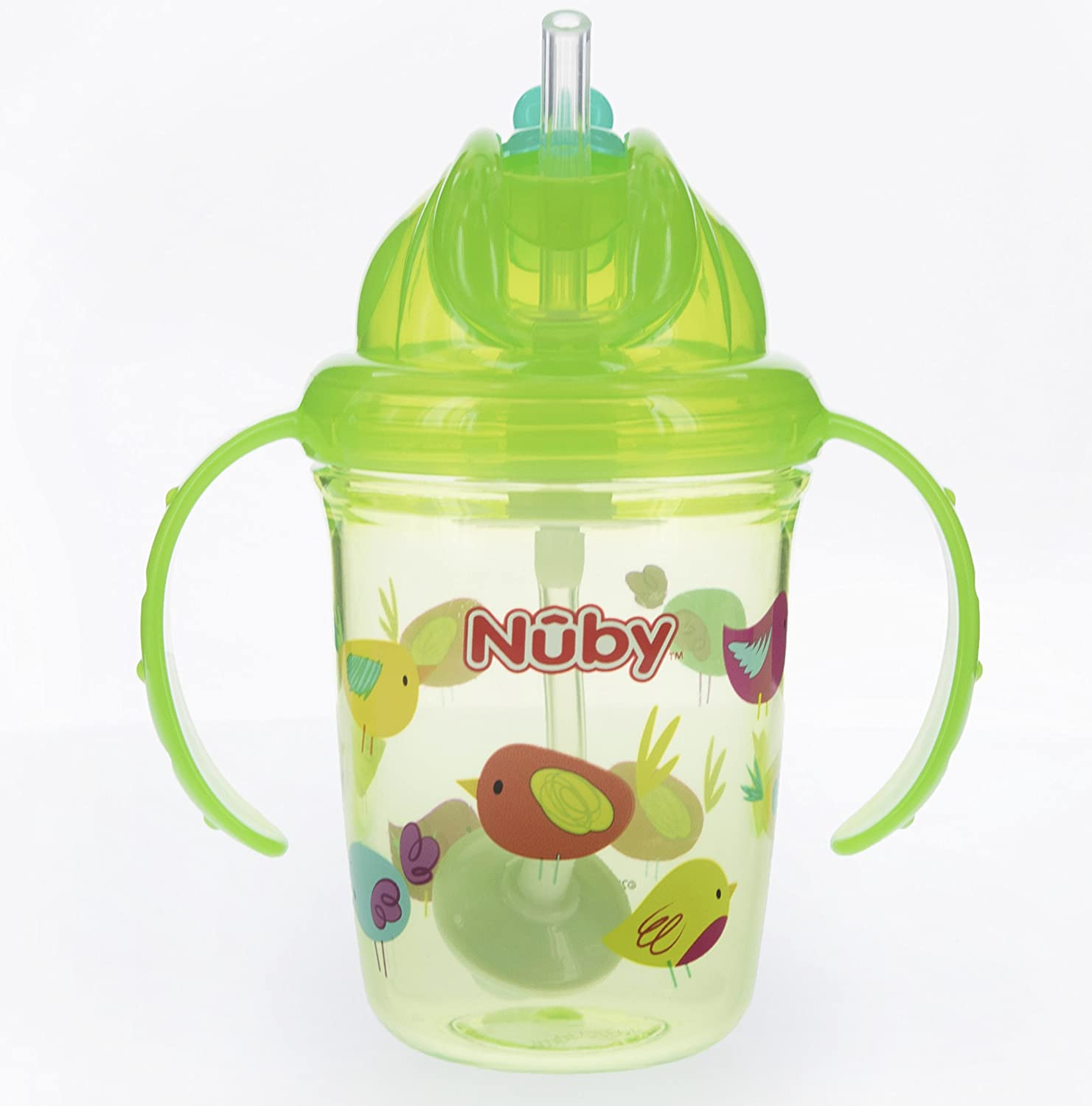 Nuby 2 Handle Printed No Spill Tritan Thin Straw Flip N Stainless Mug With Lid 240 Ml Blue Monkey Sip Cup 360 Weighted Lime Green Birds 8 Ounce Baby