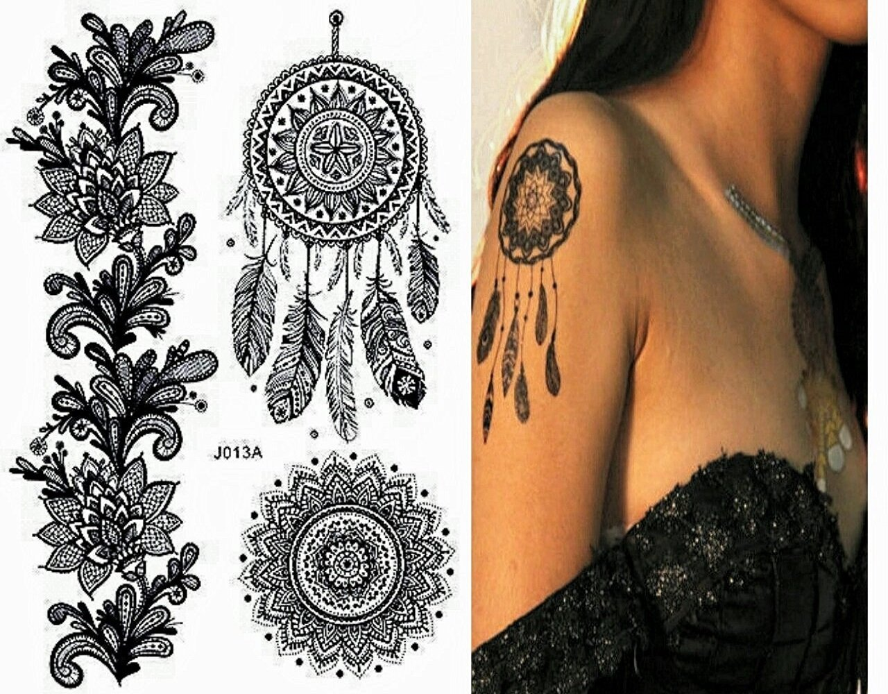 Henna Mehndi Stickers : Indian arabian tattoo reusable stickers laminau stencils pack of