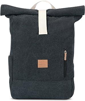 Johnny Urban Mochila enrollable lona de algodón - Negro - Bolsa resistente de alta calidad para hombre y mujer - Vintage 18-22 Litros mochilas diario - Repelente al agua y muy flexible: Amazon.es: Equipaje