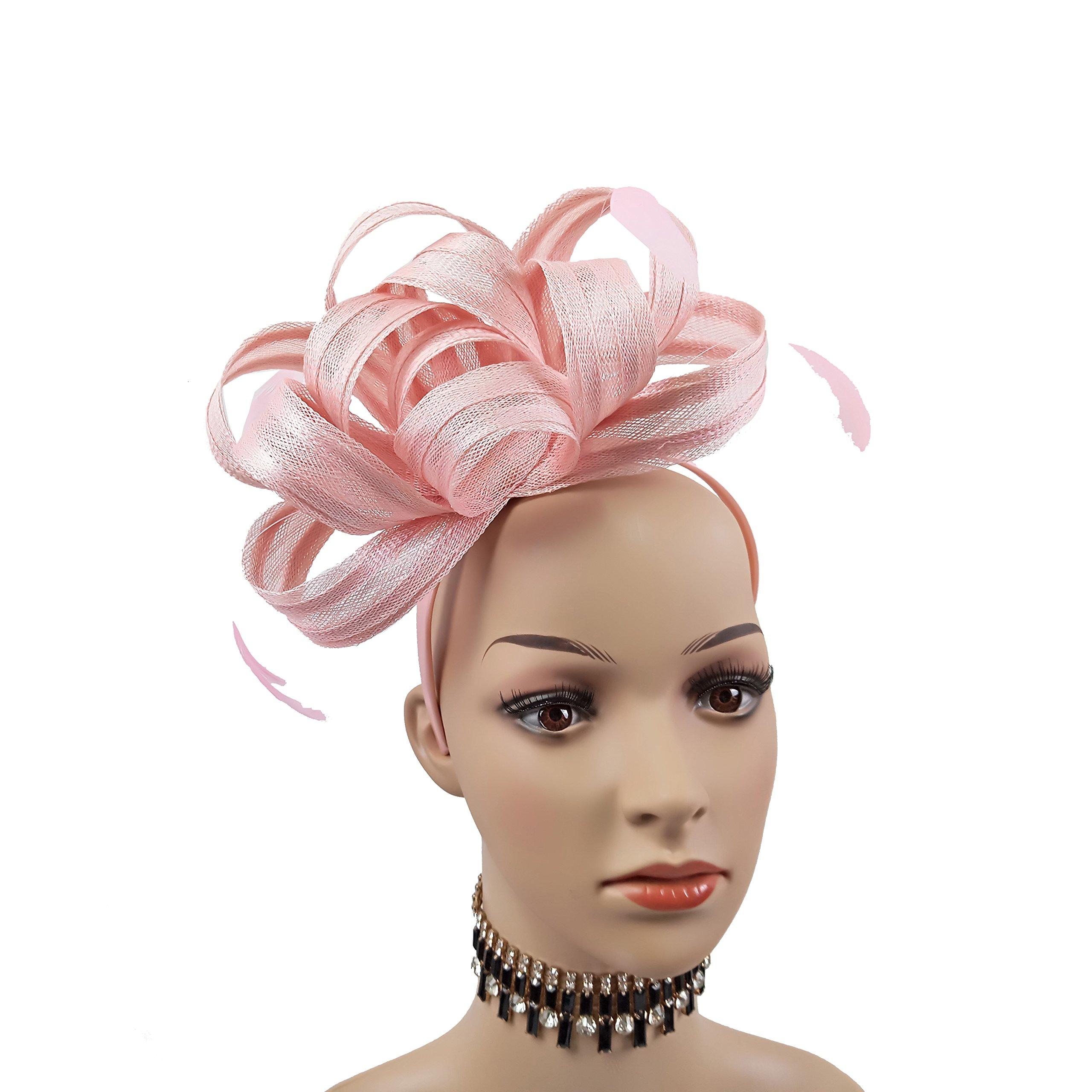 Women Sinamay Fascinator Headband Clip Head Piece Hat for Tea Party Racing Debery Church Wedding Special Occasions