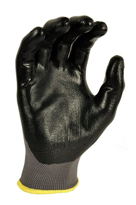 G & F 15196M Seamless Nylon Knit Nitrile Coated Work Gloves, Garden Gloves, Black, Medium, 6 Pair Pack