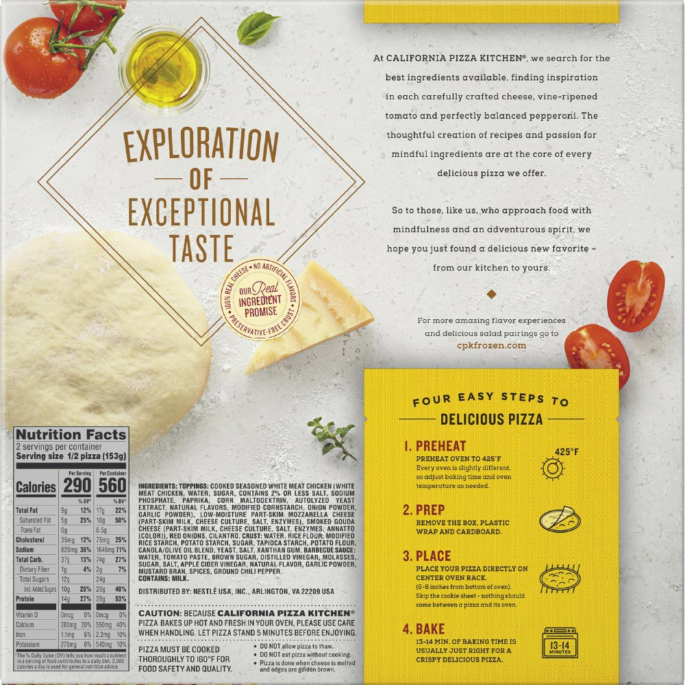 CALIFORNIA PIZZA KITCHEN Gluten Free BBQ Recipe Chicken Frozen Pizza ...