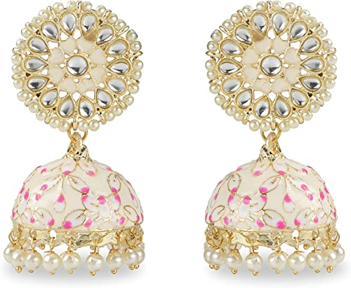 jaipri Indian Bollywood Gold Polish Hand Painted Traditional Jhumka Jhumki Earrings with Stone Studs for Women and Girls