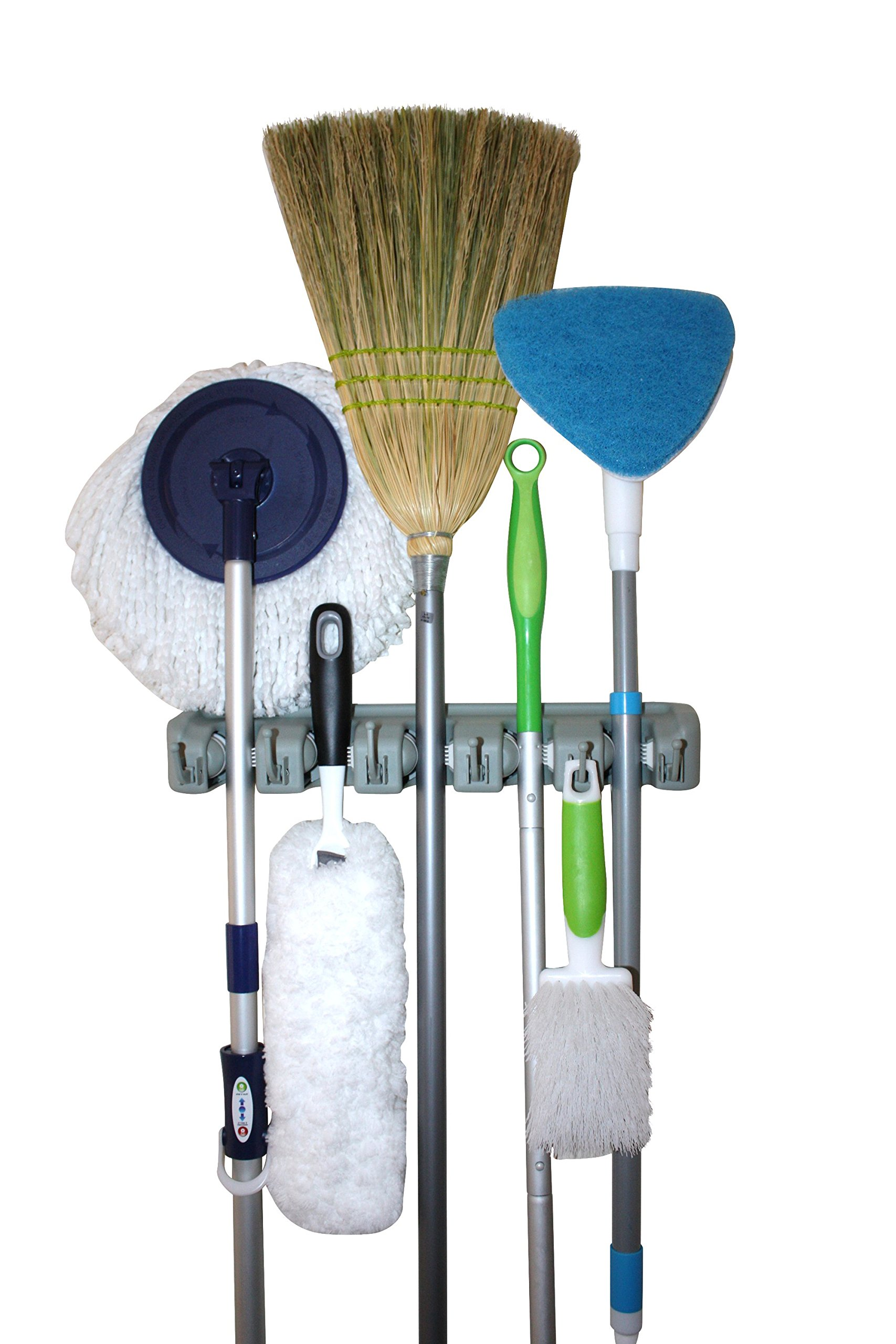 Twist and Shout Broom and Mop Holder and Tools Organizer with 5 Slots and 6 Hooks - Superior Dual Track White Rubber for Better Grips