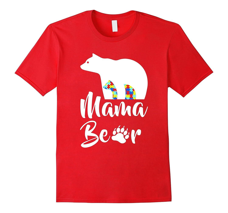 Autism Awareness Mama Bear Mom T-Shirt-TD