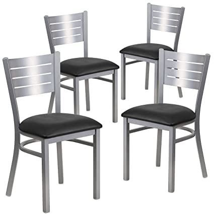 Exceptionnel Amazon.com   Flash Furniture 4 Pk. HERCULES Series Silver Slat Back Metal  Restaurant Chair   Black Vinyl Seat   Chairs