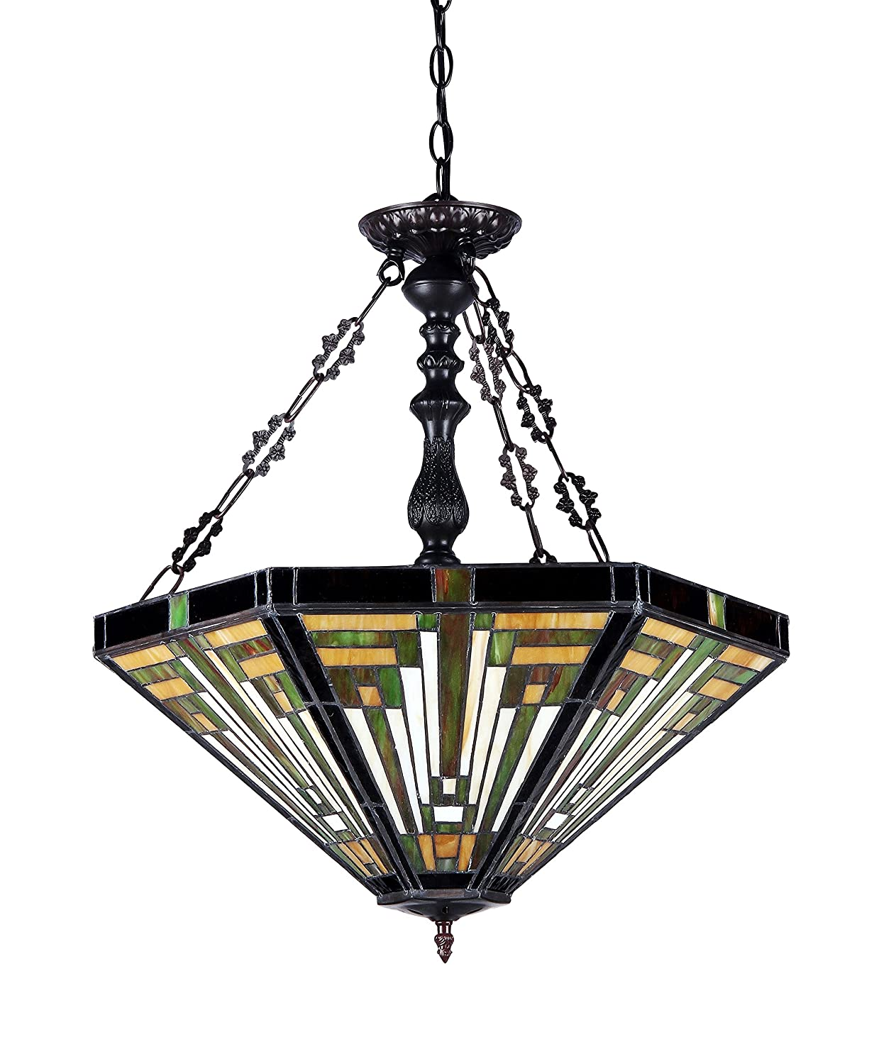 Chloe Lighting CH33359MR22-UH3 Innes Tiffany-Style Mission 3-Light Inverted Ceiling Pendant with Fixture with Shade, 24.3 x 21.7 x 21.7 , Bronze