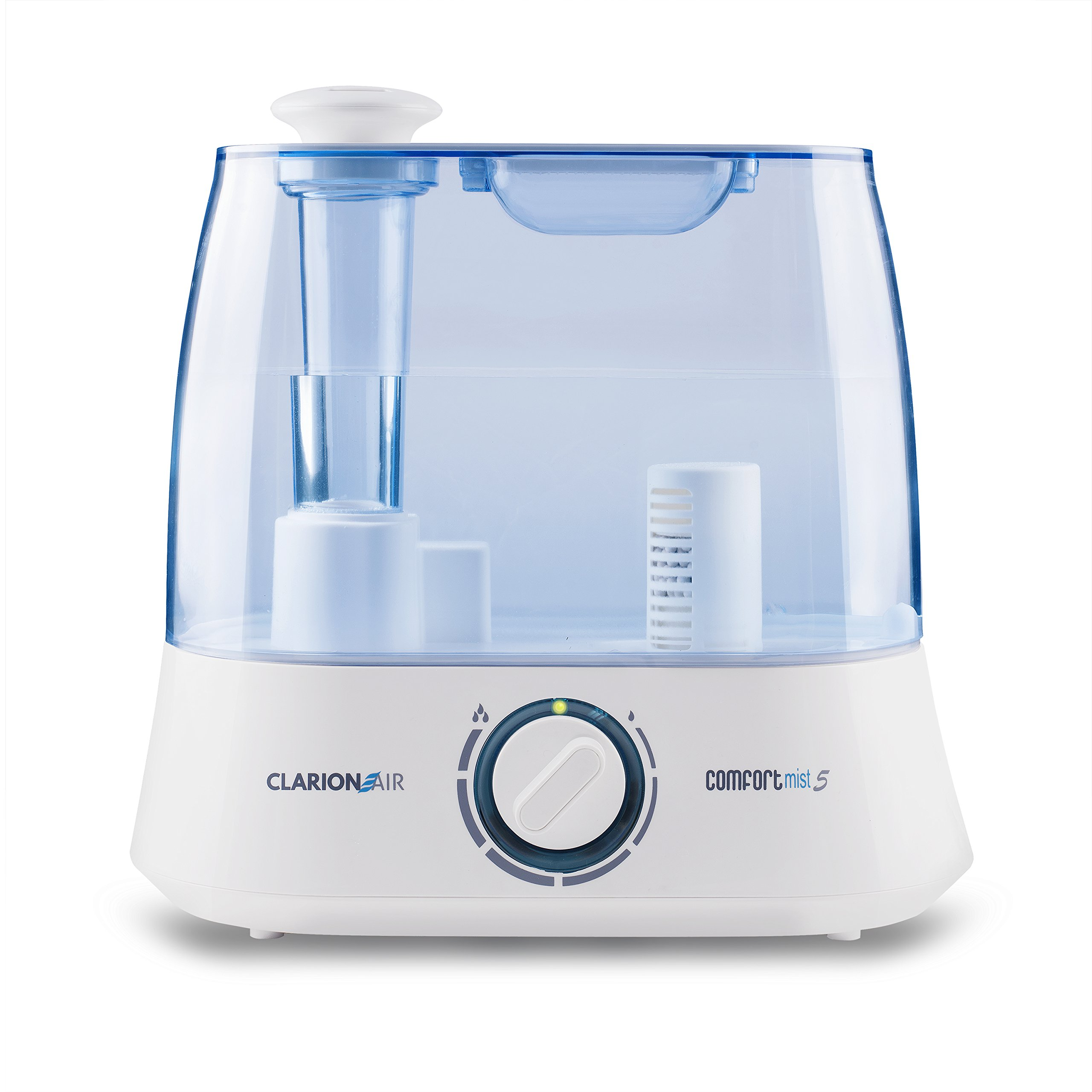 Ultrasonic Cool Mist Humidifier ~ Super Quiet Air Moisturizer with 1.3 Gallon Tank (5.2 Liters), Custom Controls, Automatic Shutoff + 2 Demineralization Cartridges (1 Inside, 1 Extra) by Clarion Air by Clarion Air