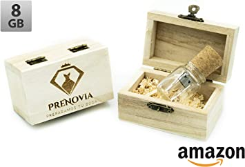 USB Botella de Cristal + Caja Personalizada + Virutas de Madera ...