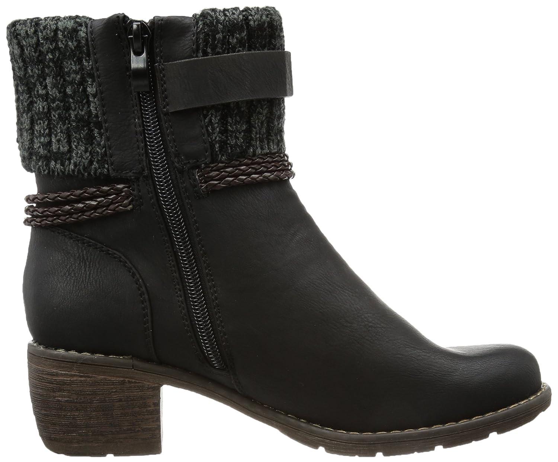 99878 - Botas tacón, talla: 41, Color negro - Schwarz (schwarz/toffee/black-grey 00) Rieker