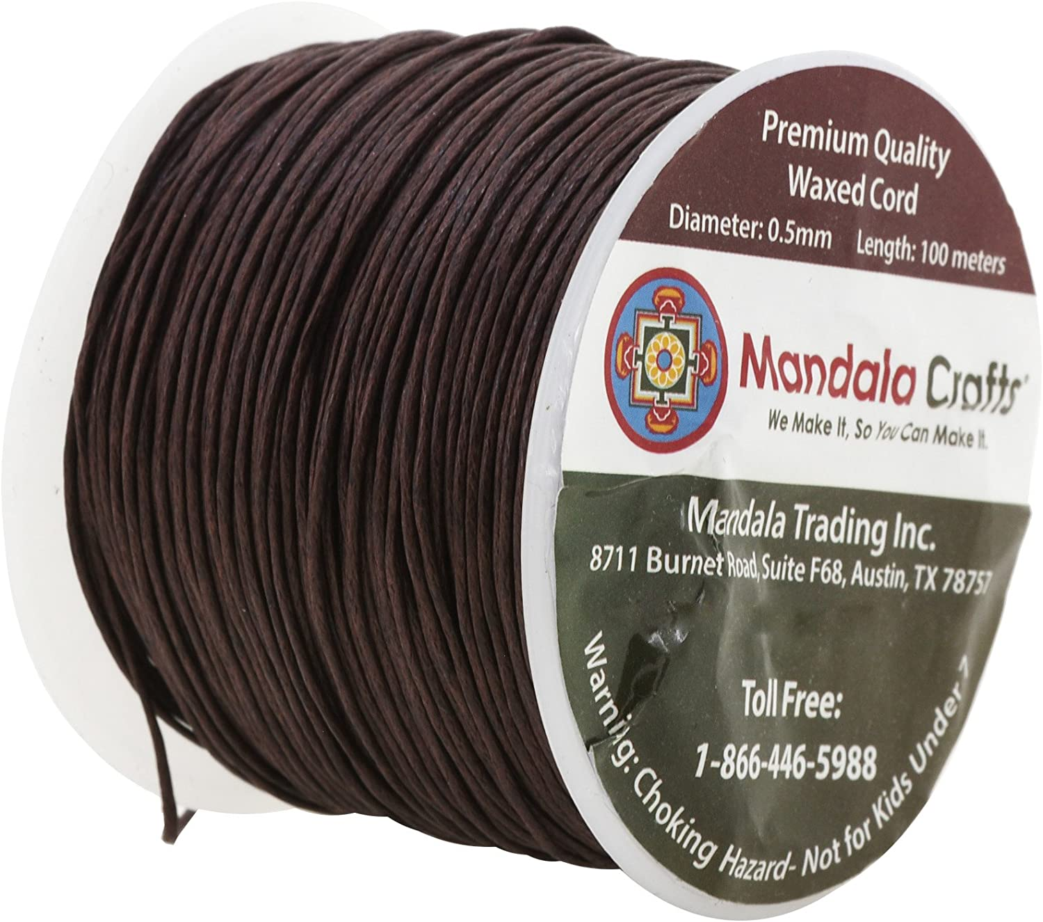 Mandala Crafts 0.5mm 109 Yards Jewelry Making Crafting Beading Macram/é Waxed Cotton Cord Thread Brown