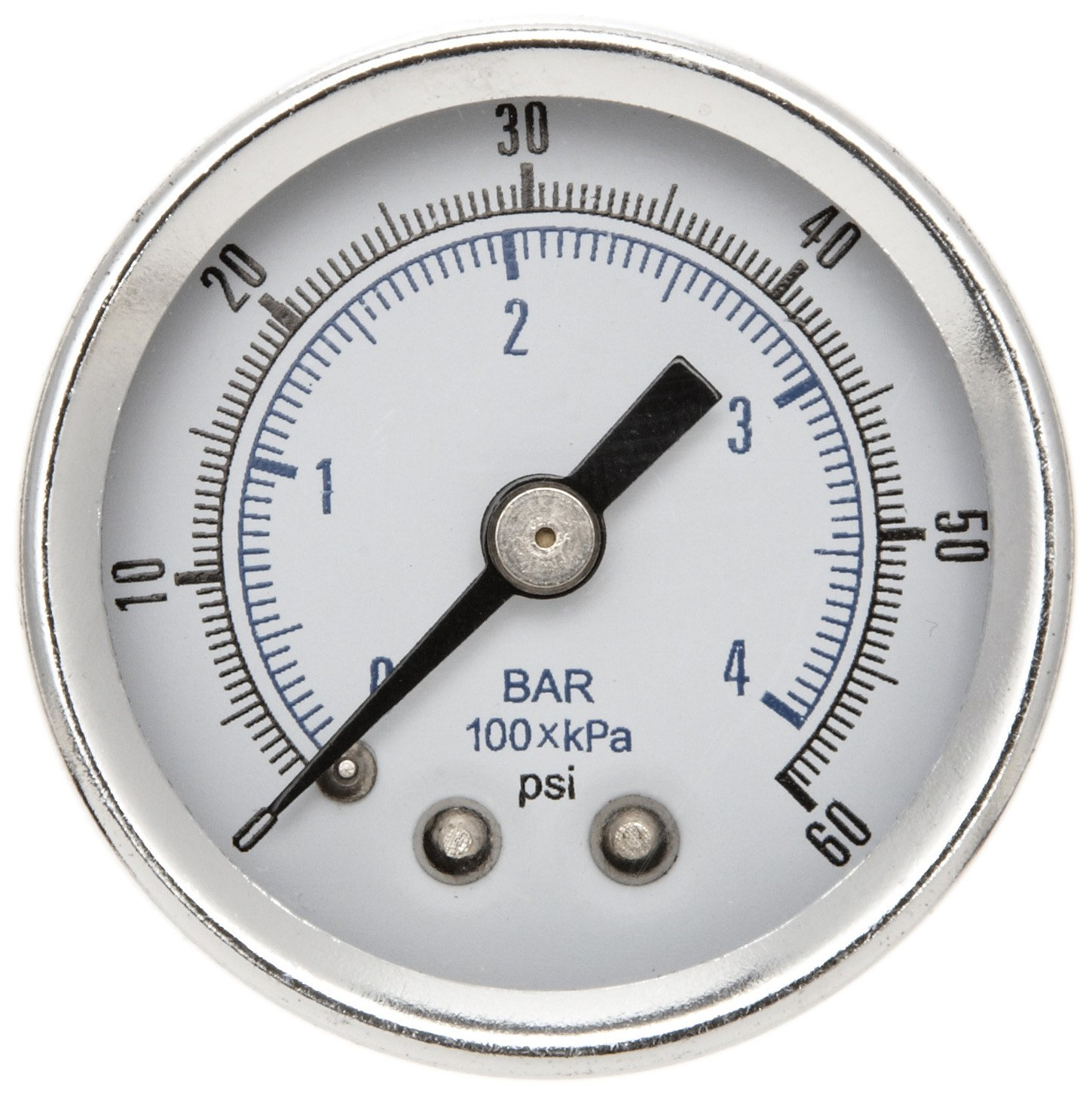 Parker K4515N18060 Gauge for P3AR, R34, 15R, 14E, B34 and 14R Series Filter/Regulator, 60 psig, 1/8' NPT (0 to 4.1 bar)