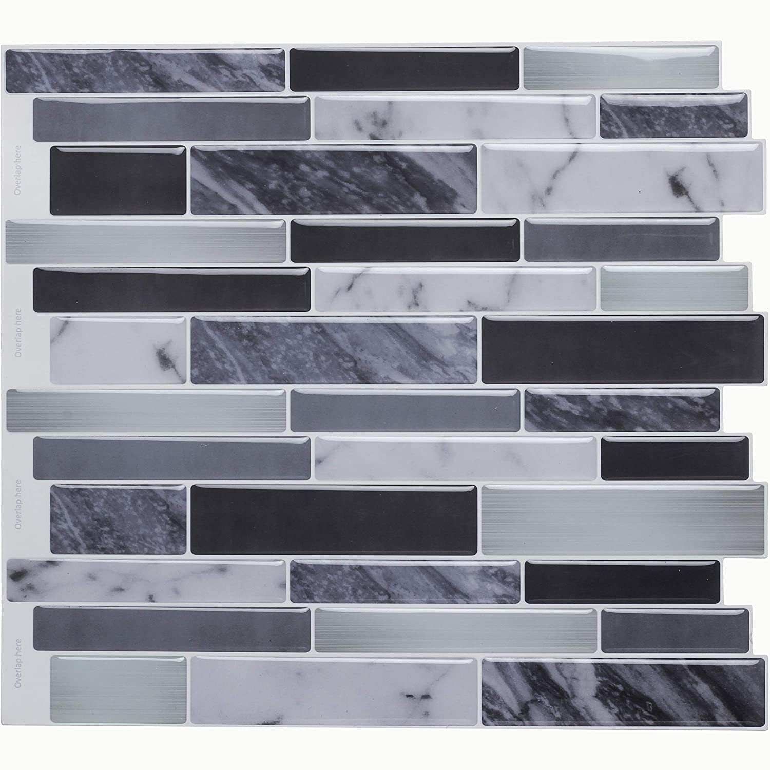Vamos Tile Peel Stick Tile Backsplash, 3D Self Adhesive Wall Tiles Kitchen & Bathroom-10 x 10(6 Tiles)