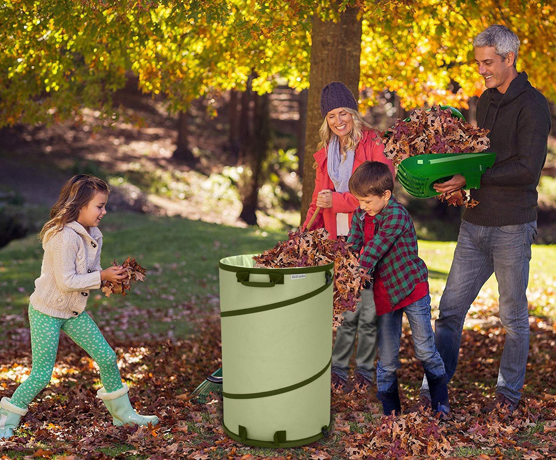 Pop-up Reusable Garden Leaf Bag Holder Hardened Bottom Sleek Garden Smart Collapsible 30-Gallon Canvas Garden Waste Bag Durable and Portable Includes Hefty Drawstring Top with Drain Garden Bag