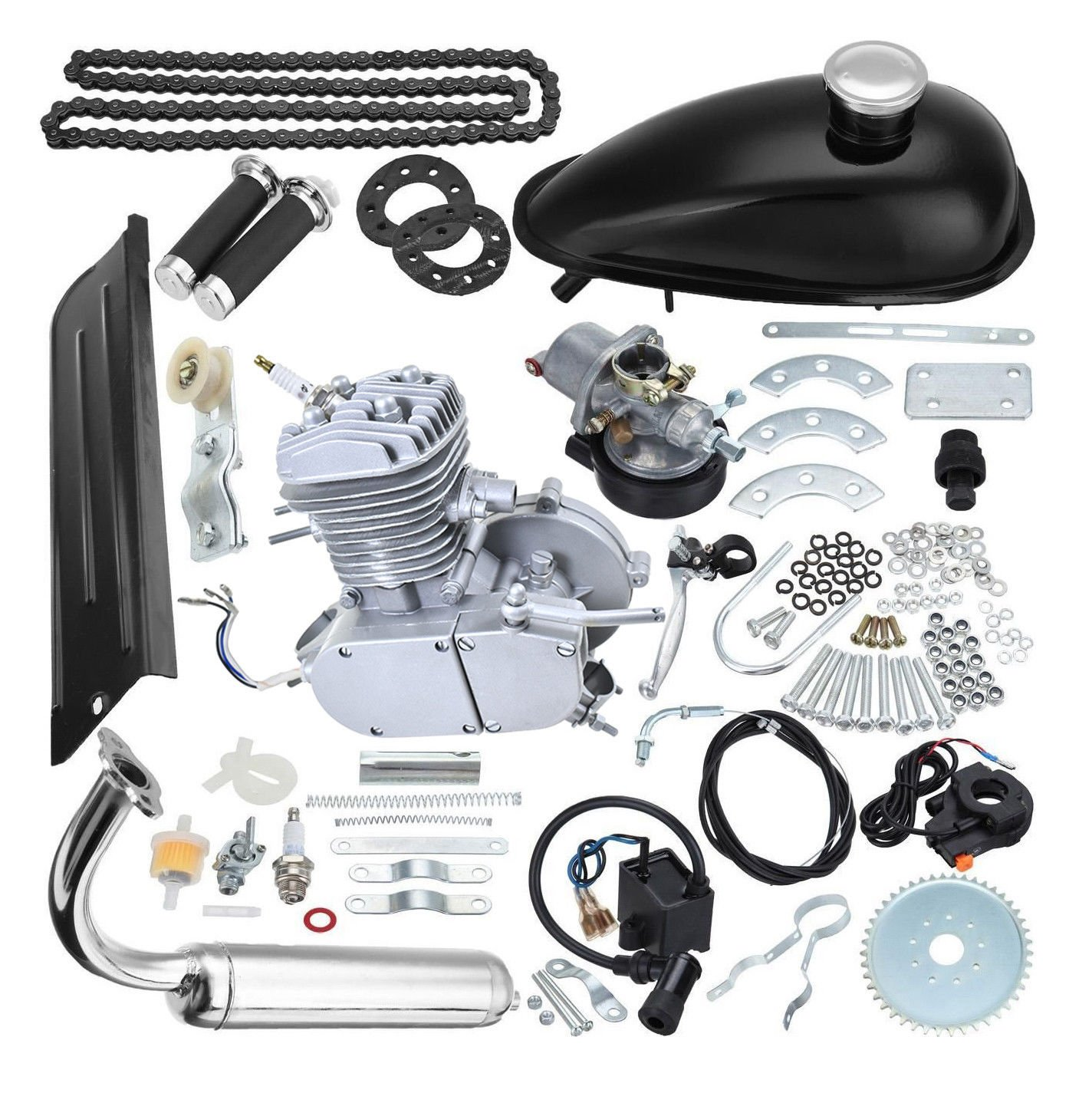 Thegood88 80cc Bike Bicycle Motorized 2 Stroke Petrol Gas Motor Engine Kit Set Silver TG0164