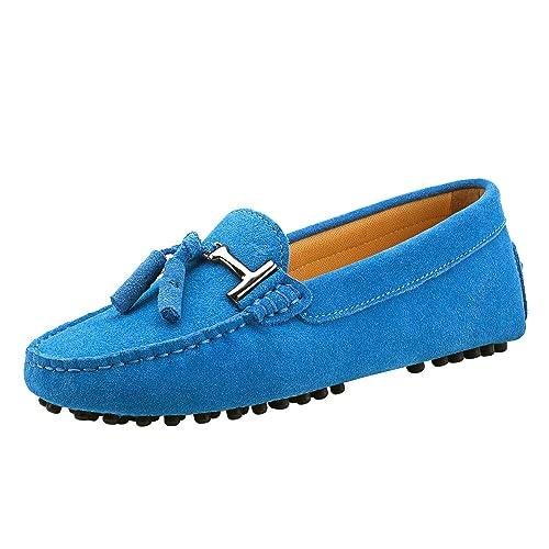 Shenduo Zapatos Casuales - Mocasines de piel con borlas cómodos para mujer D7057: Amazon.es: Zapatos y complementos