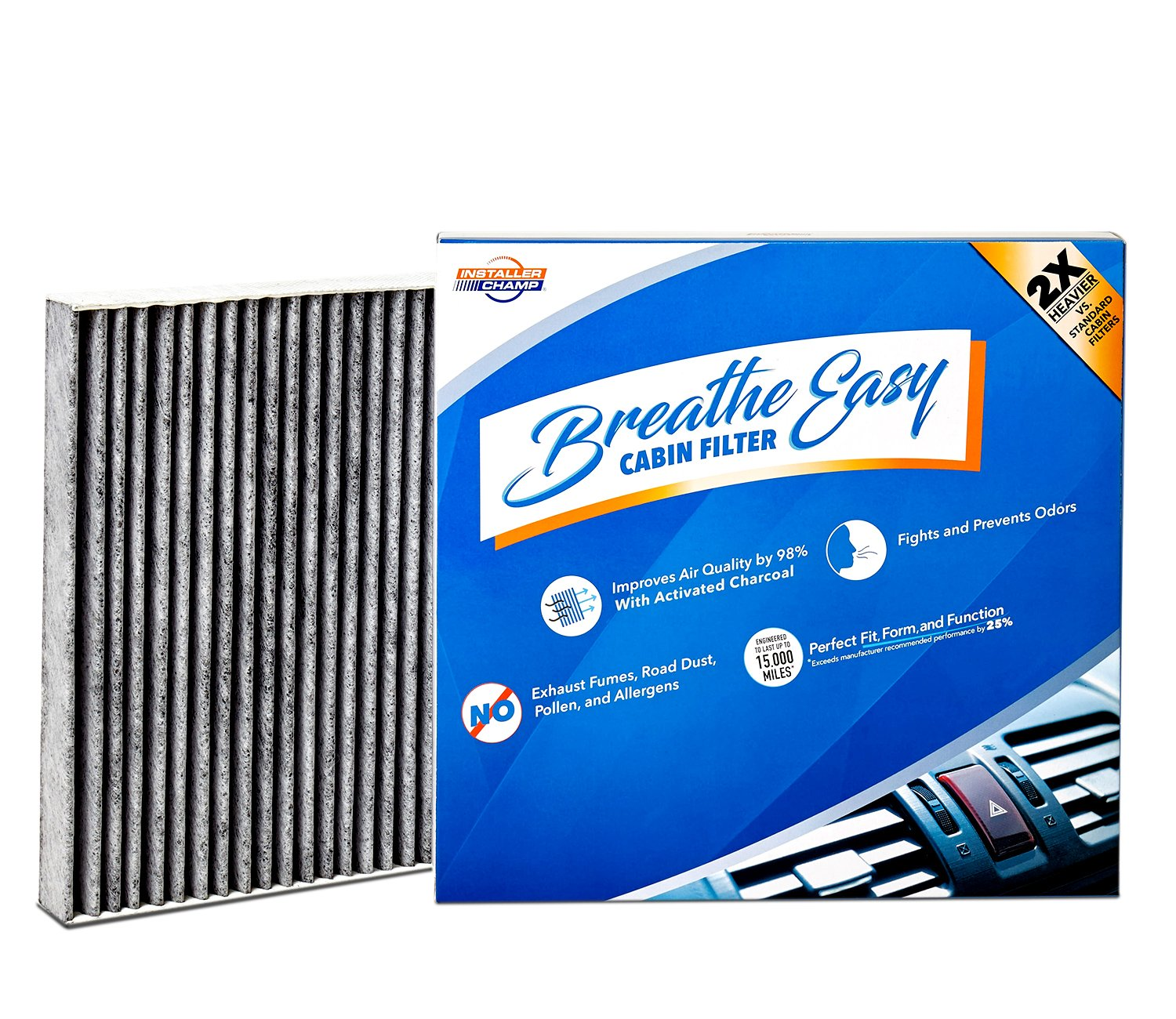 Installer Champ Premium Breathe Easy Cabin Filter, Up to 25% Longer Life w/Activated Carbon (BE-000)
