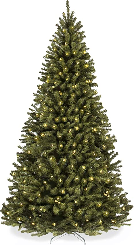 Amazon Com Best Choice Products 7 5ft Pre Lit Spruce Hinged Artificial Christmas Tree W 550 Ul Certified Incandescent Warm White Lights Foldable Stand Home Kitchen