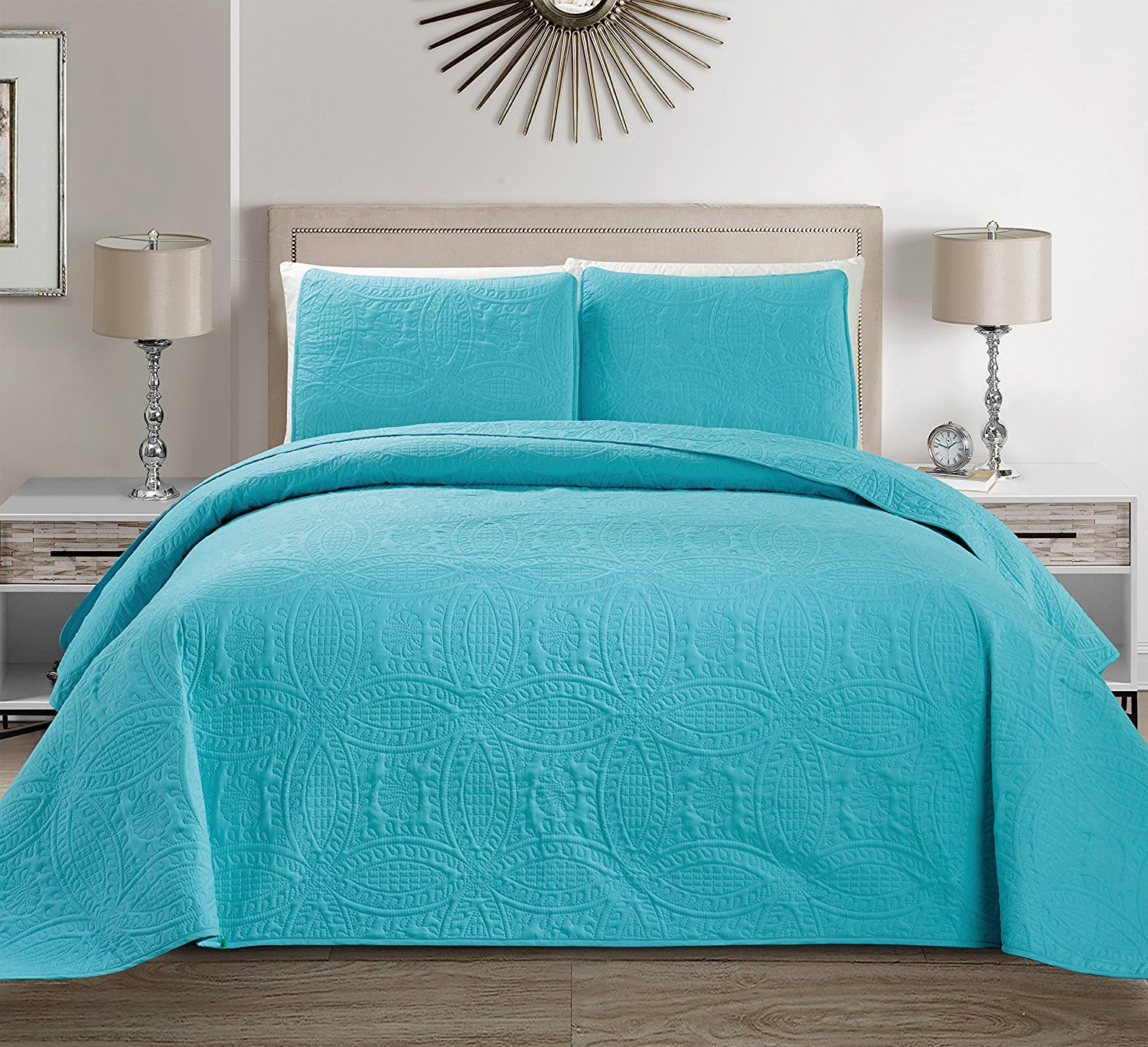 """Mk Collection 3 pc King/California King Solid Embossed Bedspread Bed-cover Over Size Baby Blue/Turquoise 118"""" X 106"""" New"""