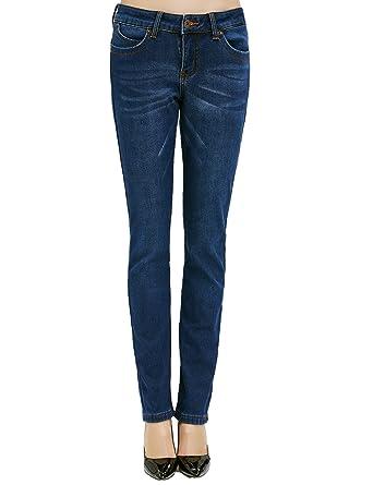98e06ea045e6c1 Camii Mia Damen Jeanshose Slim Fit Jeans Fleece Gefürttert Winter Denim Hose  Trousers (W25 ×