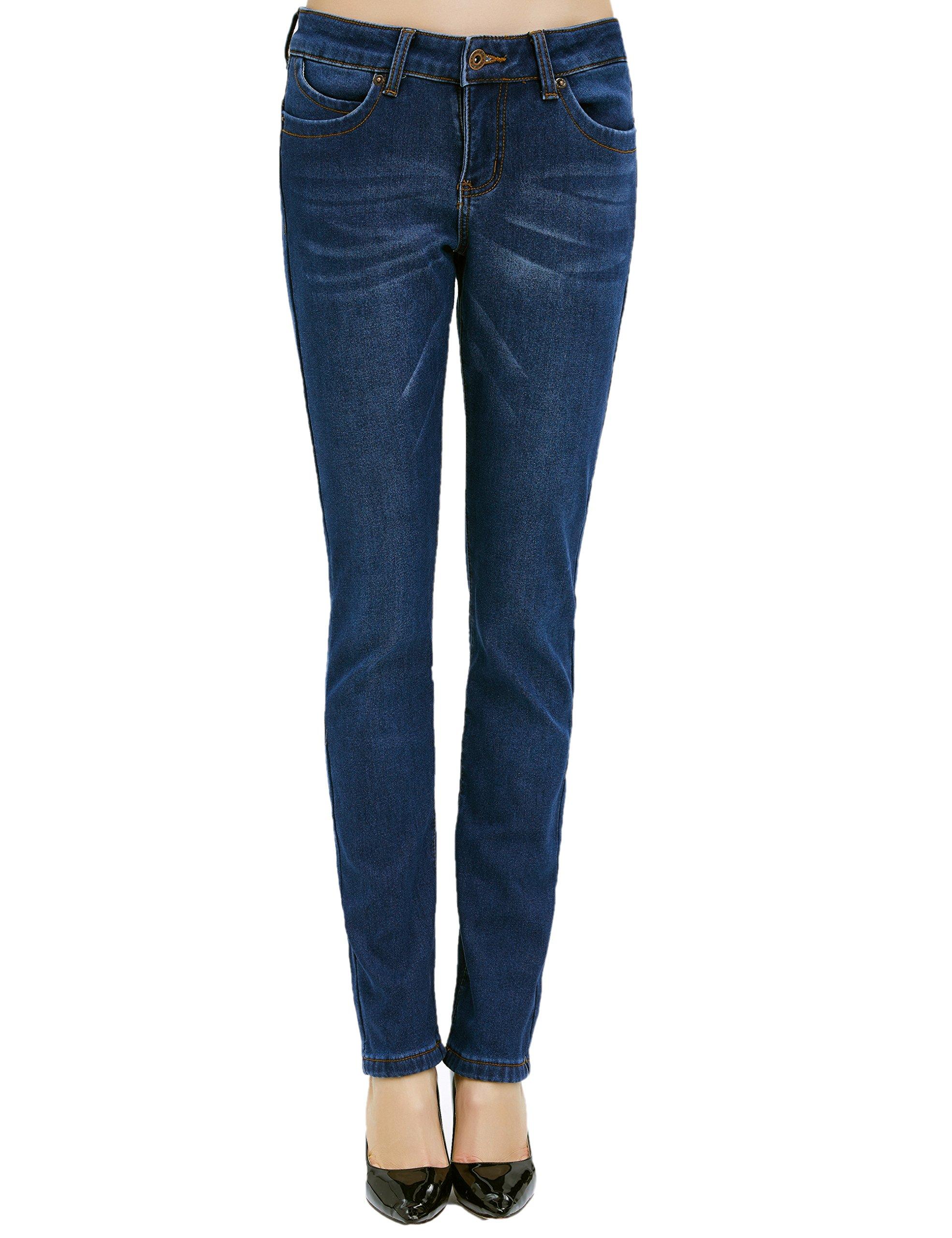Camii Mia Women's Winter Slim Fit Fleece Jeans (W29 x L32, Blue (new size))