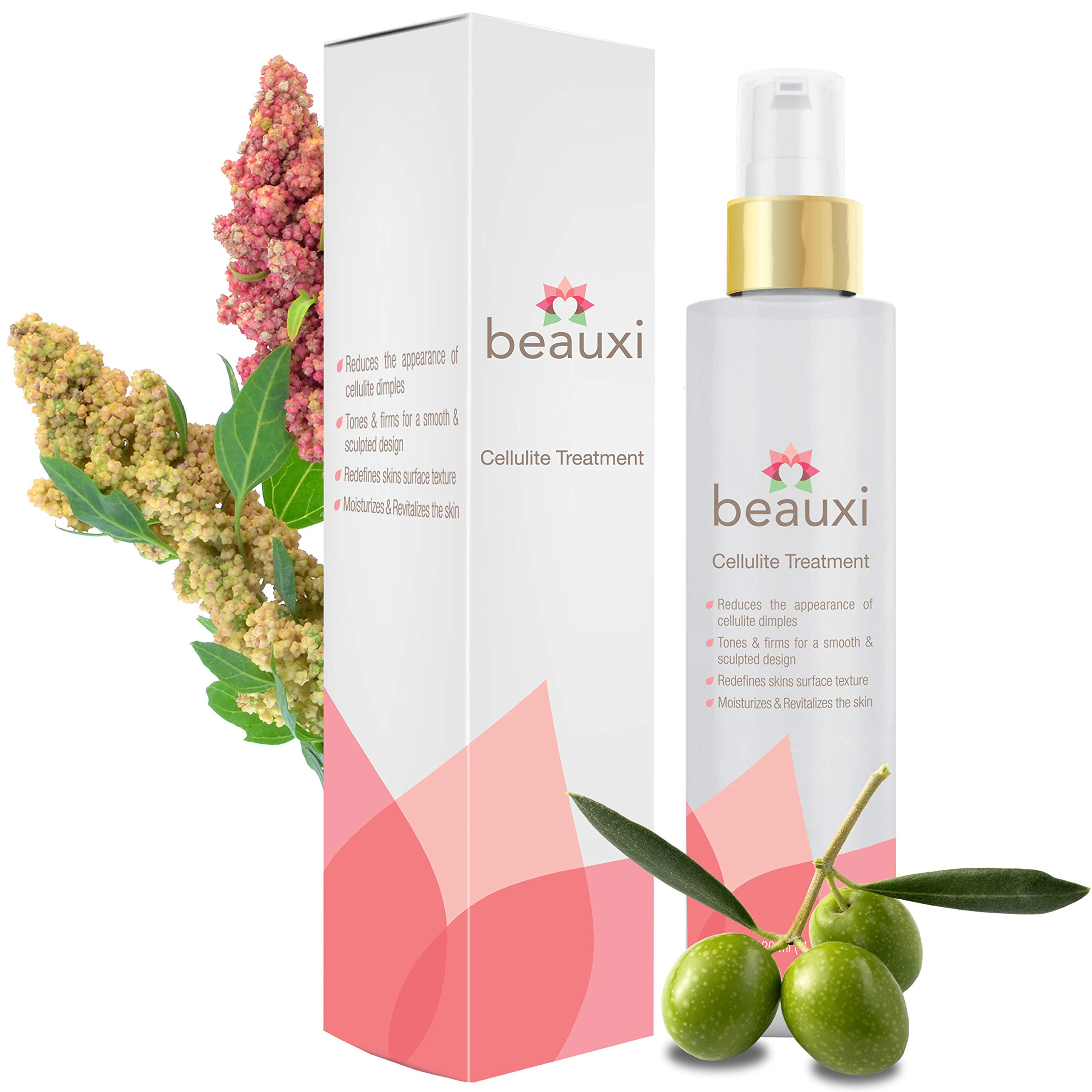 beauxi Cellulite Cream combines the natural, active ingredients intent of lessening the appearance of cellulite and moisturizing the skin by beauxi