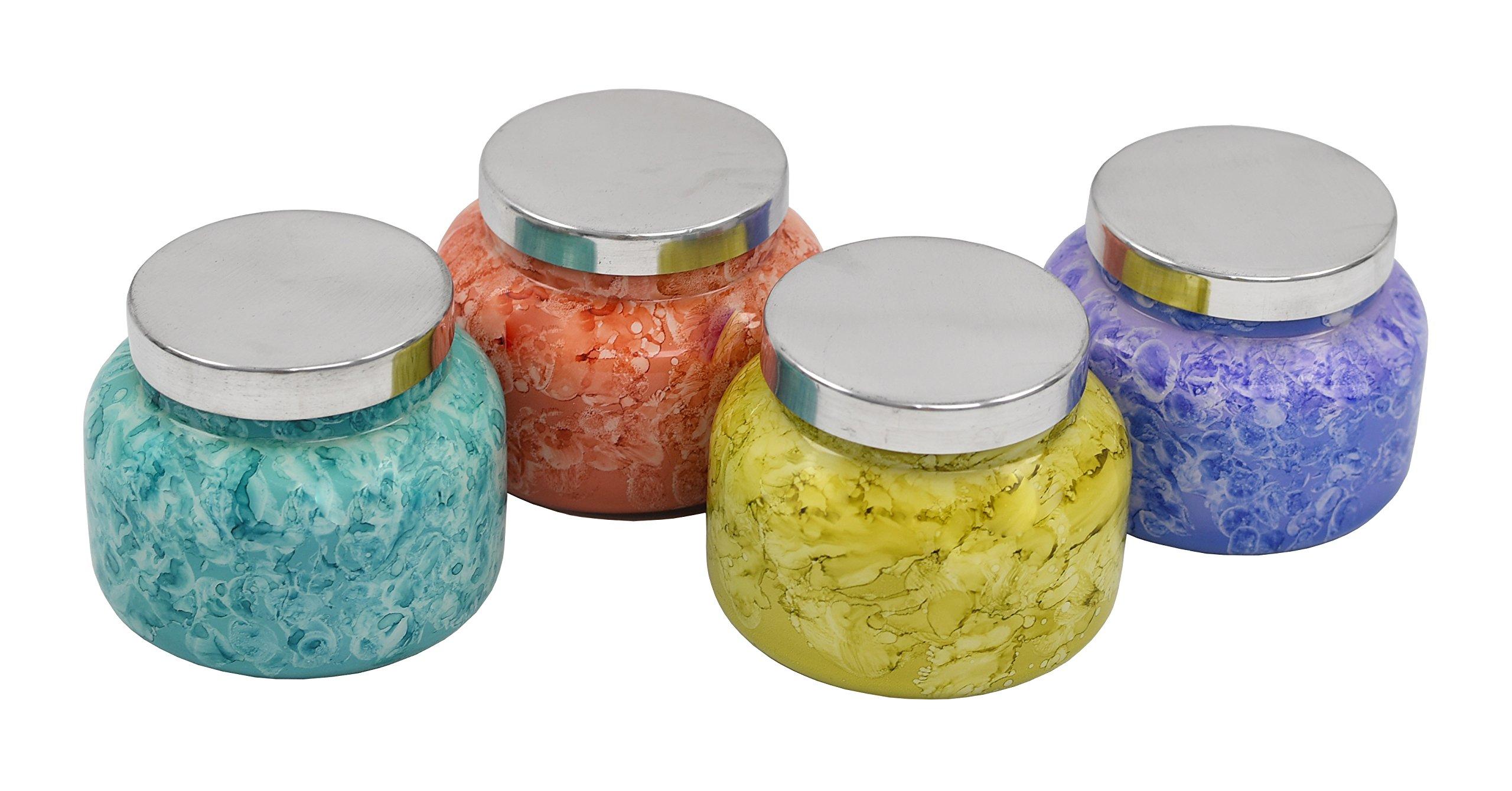 Capri Blue 19 oz. Set of 4 Watercolor Collection Jar Candle - Aloha Orchid, Blue Jean, Pomegranate Citrus & Volcano.