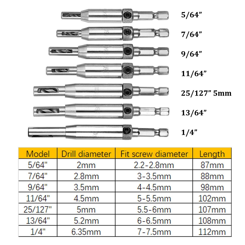 5//64, 7//64,9//64, 11//64, 25//127, 13//64,1//4 CUKCIC Self Centering Hinge Hardware Drill Bit Set Gate Door Window Cabinet Hinge Drills,7 Pieces