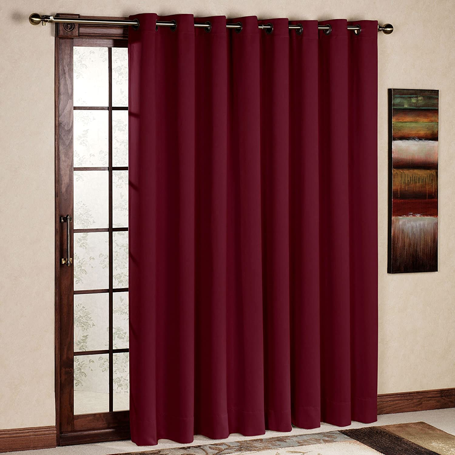 Amazon rhf wide thermal blackout patio door curtain panel amazon rhf wide thermal blackout patio door curtain panel sliding door curtains antique bronze grommet top 100w by 84l inches burgundy home kitchen planetlyrics Image collections