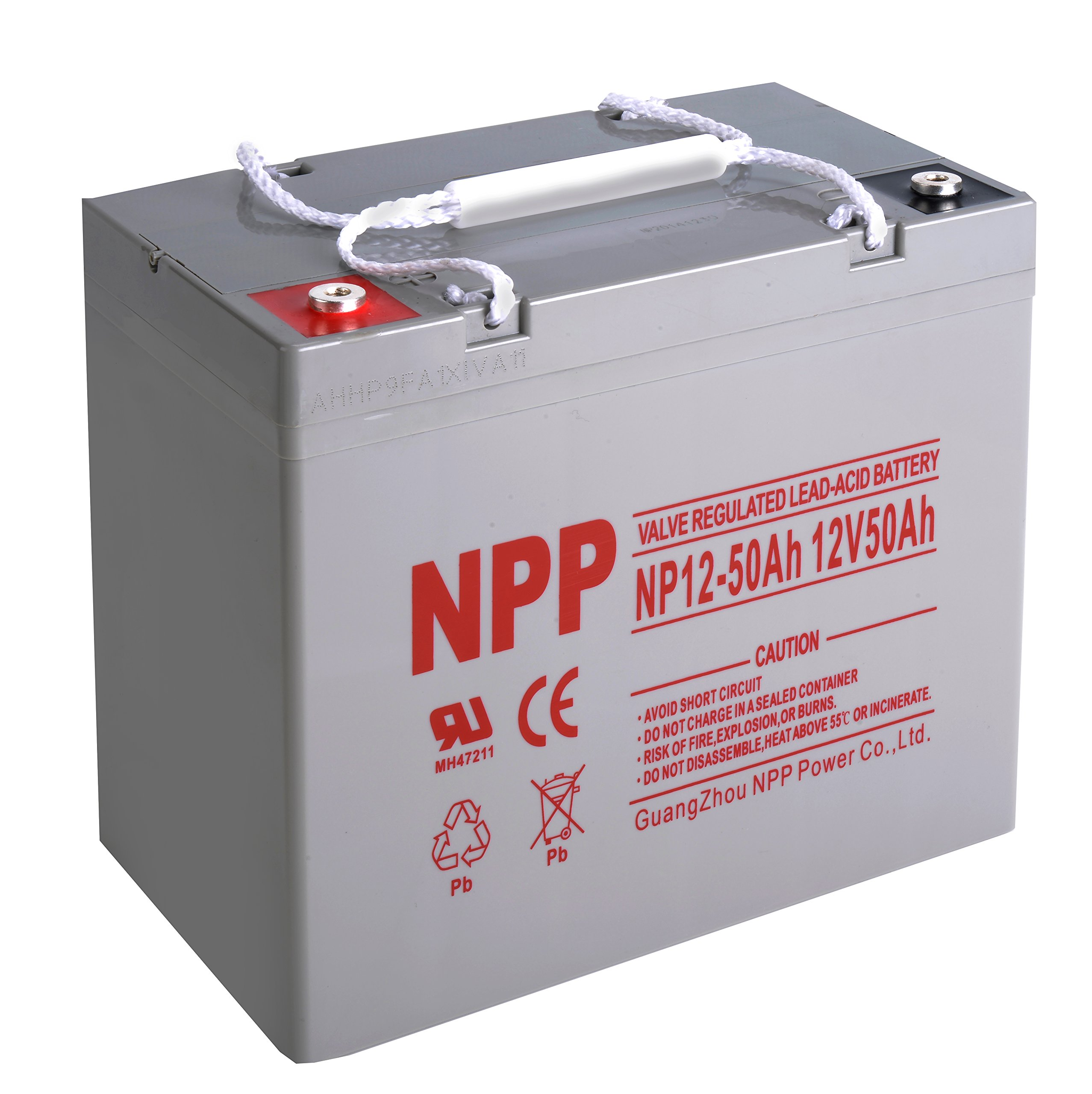 NPP 12V 50 Amp 50Ah Rechargeable AGM SLA Sealed Lead Acid Battery With Button Style Terminals