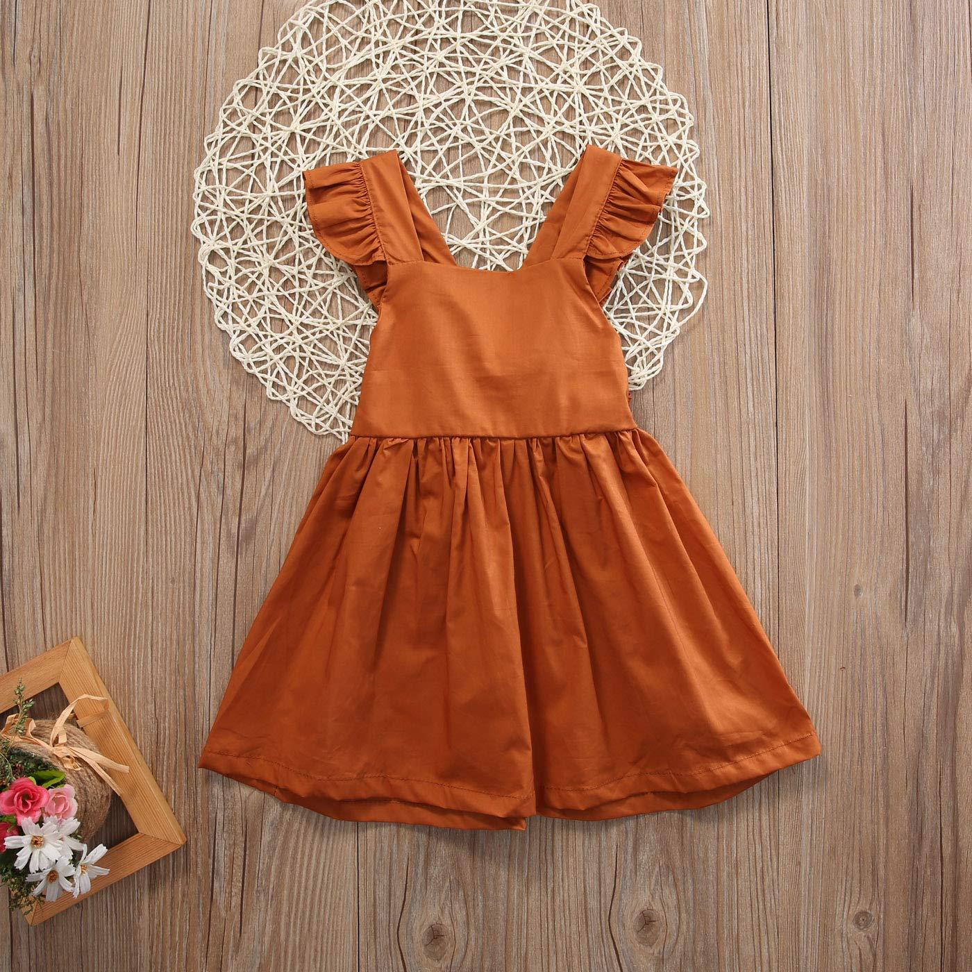Mericiny Newborn Baby Girls Infant Bowknot Dress Sleeveless Ruffled Solid Coffee Dresses