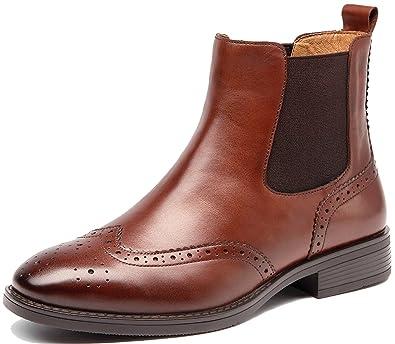 SimpleC Damen Kurzschaft Stiefeletten Chelsea Boots Flache Boots Schlupfstiefel