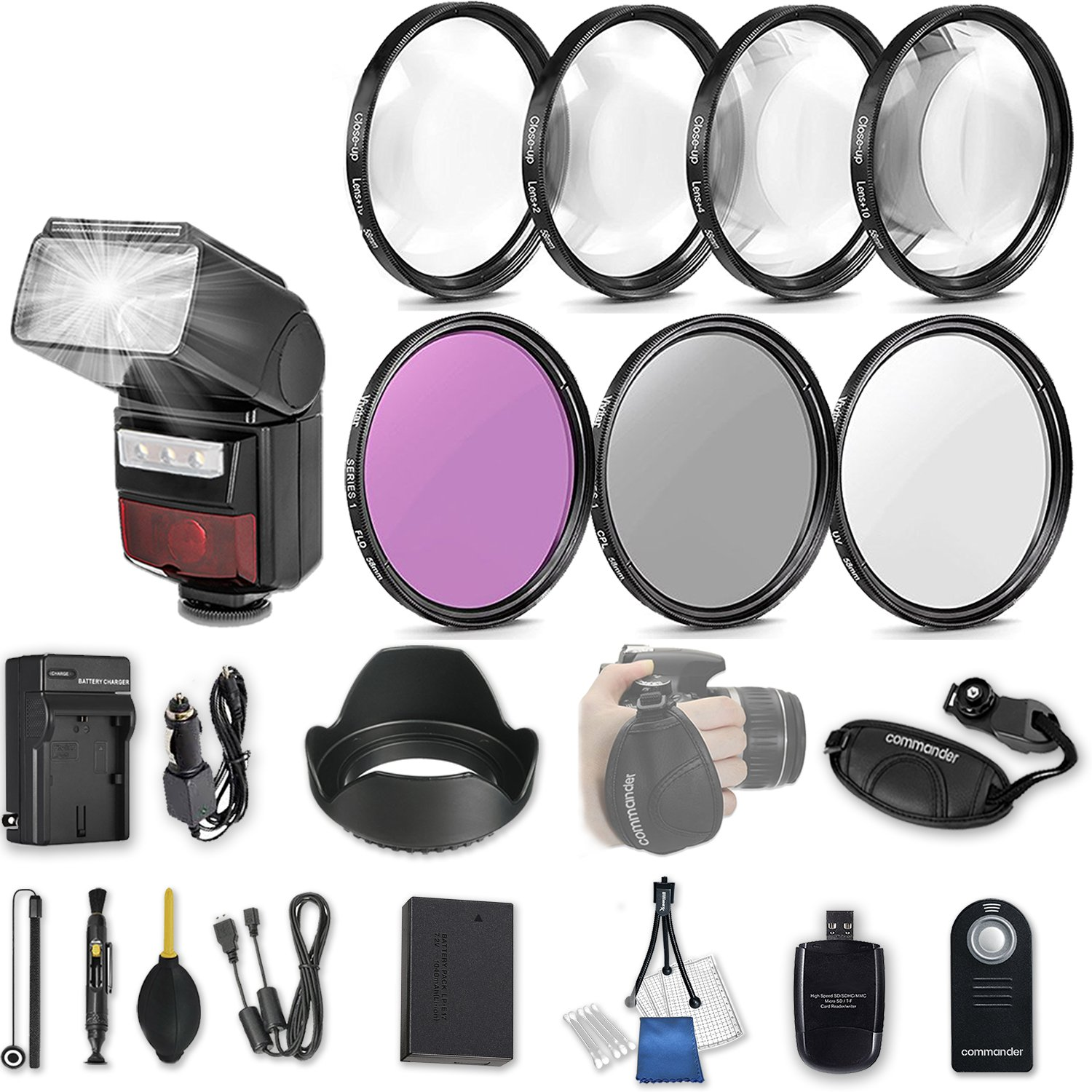58mm 21 Pc Accessory Kit for Canon EOS Rebel SL2, 200D DSLR with LED-Flash, UV CPL FLD Filters, & 4 Piece Macro Close-Up Set, Battery, and More by 33rd Street