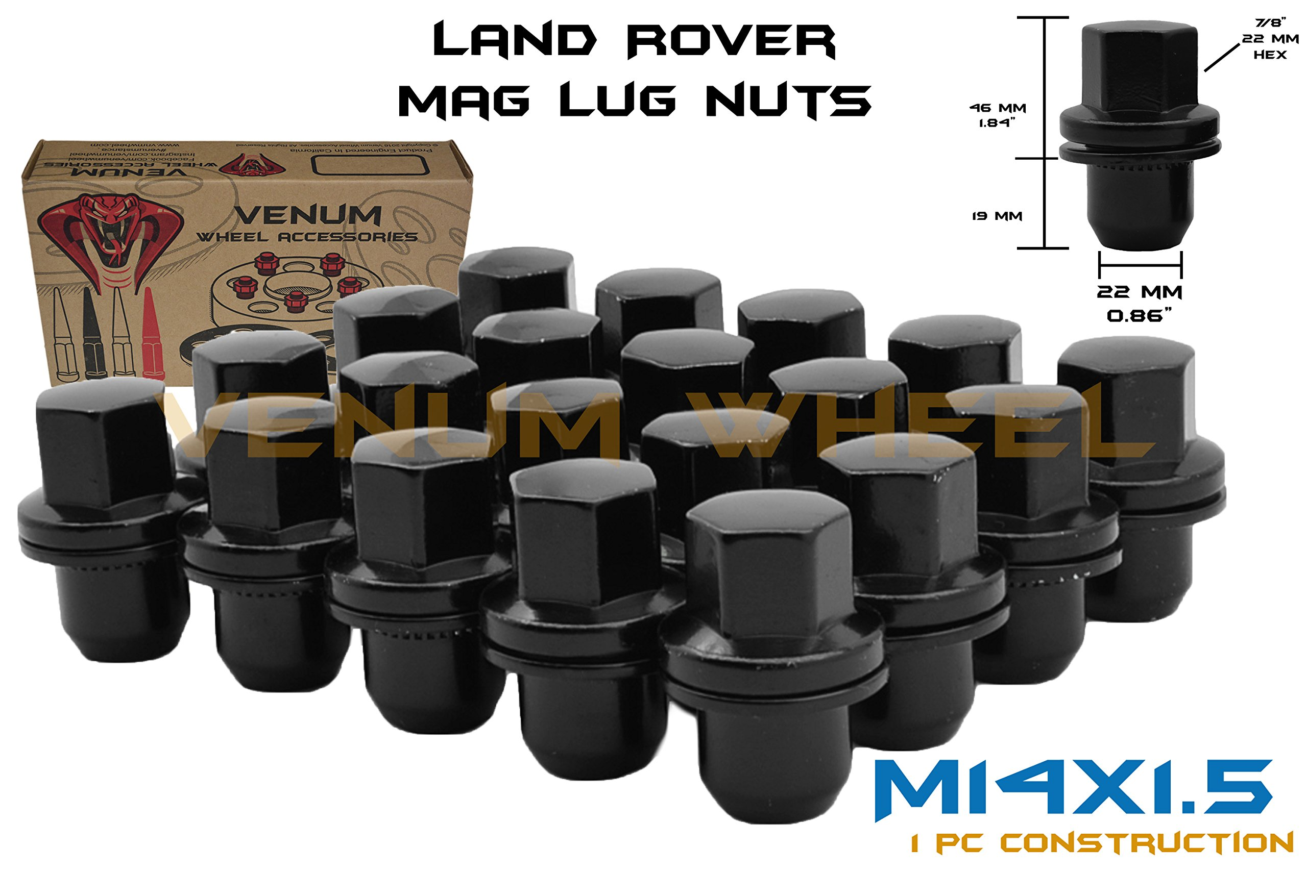20 Pc Black OEM Factory Land Rover Replacement Mag Lug Nuts M14x1.5 Fits 2006 2007 2008 2009 2010 2011 2012 2013 2014 2015 2016 2017 Range Rover