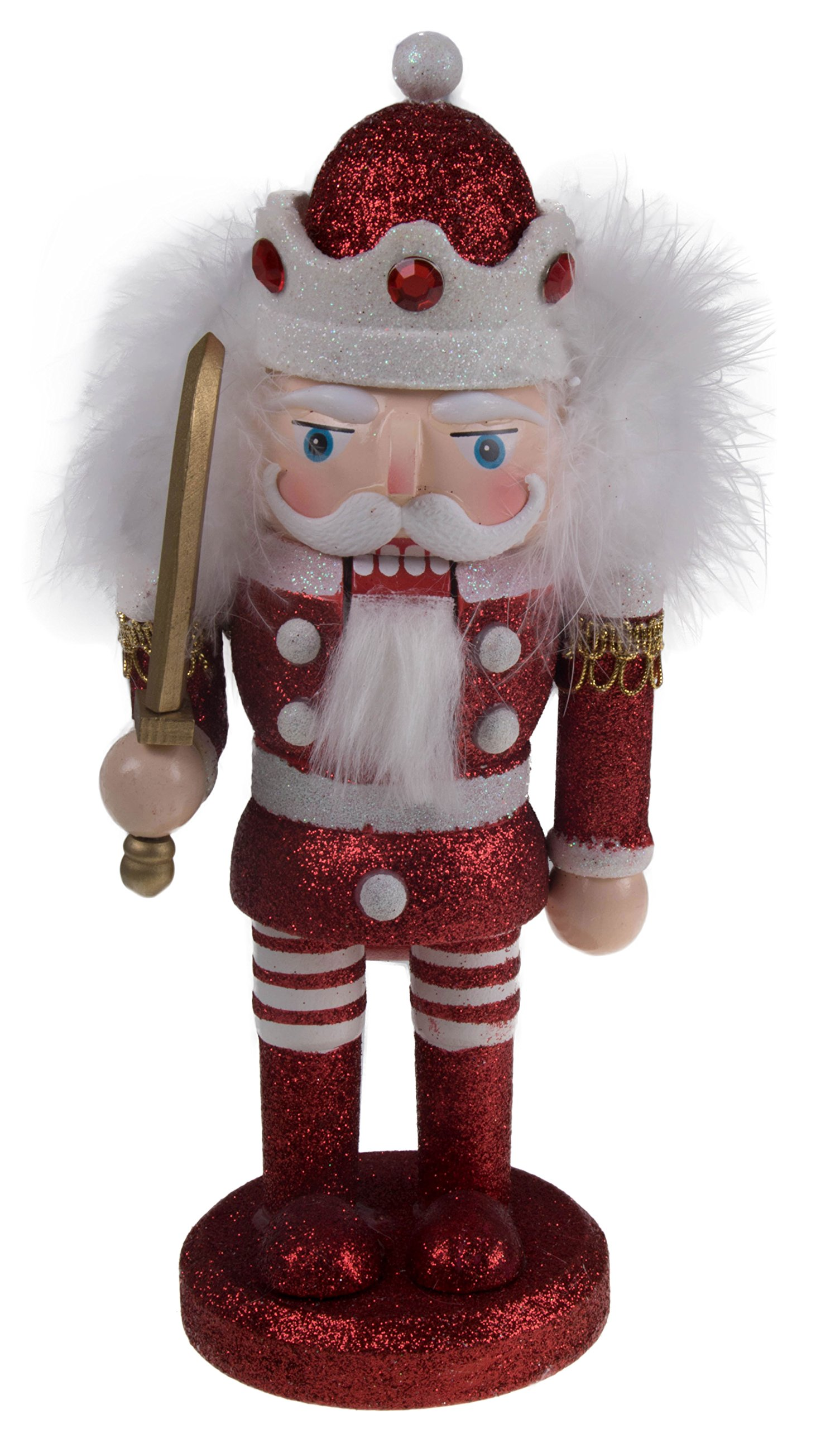 Clever Creations Chubby Style King Nutcracker | Glitter Uniform | Festive Collectible Wooden Christmas Nutcracker | 100% Wood | 10'' Tall | Red/White