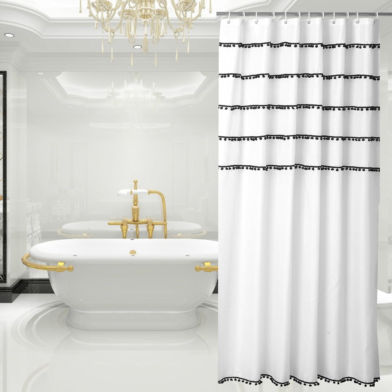 Amazon.com: White Shower Curtain with Black Tassel Design, Fabric ...