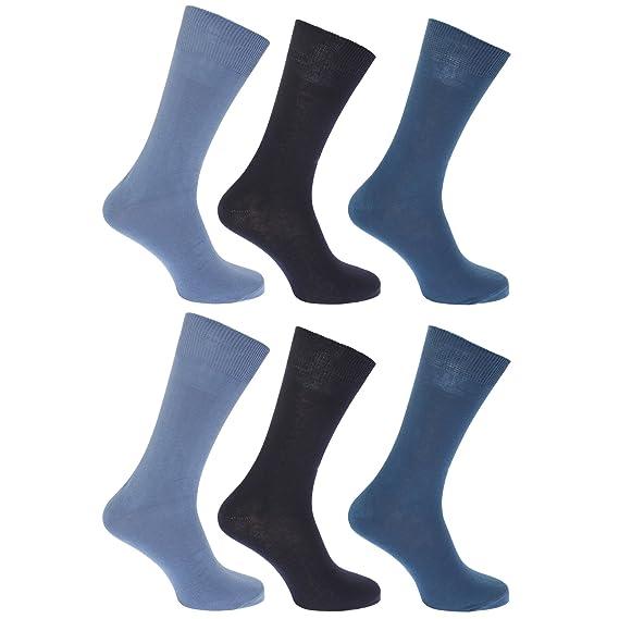 FLOSO - Calcetines lisos 100% algodón para hombre/caballero - Pack de 6 pares de calcetines, Azul marino, 39-45 EUR: Amazon.es: Ropa y accesorios