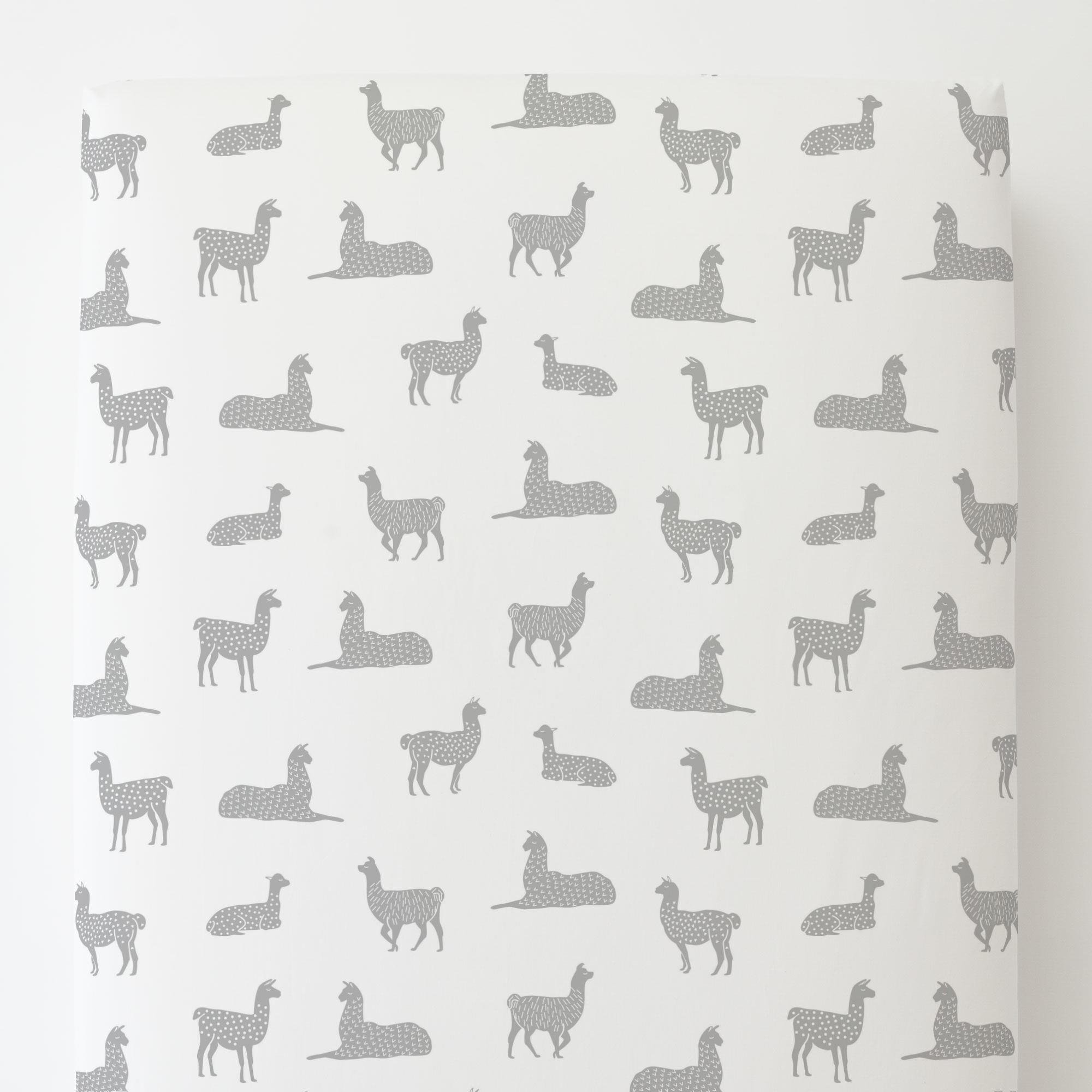 Carousel Designs Silver Gray Llamas Toddler Bed Sheet Fitted