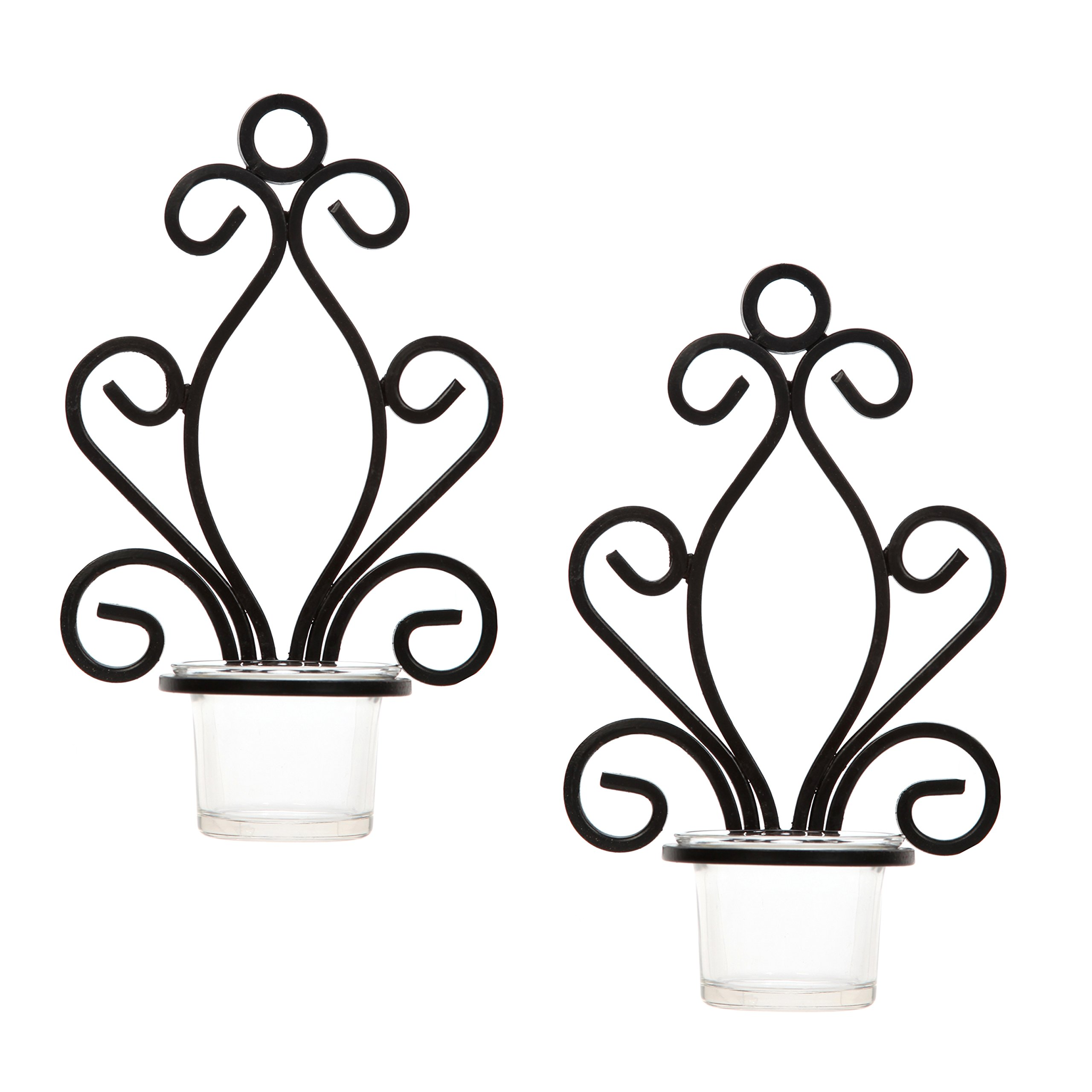 Hosley Set of Two, Iron Wall Sconce, Tea Light Candle Sconces, 7.68'' High. Ideal Gift for Spa, Aromatherapy, wedding, LED Votive Candle Gardens. Hand made by Artisans O3