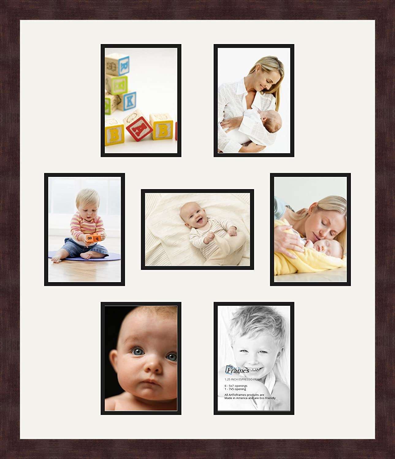 Art to Frames Double-Multimat-499-754//89-FRBW26061 Collage Frame Photo Mat Double Mat with 7-5x7 Openings and Espresso Frame