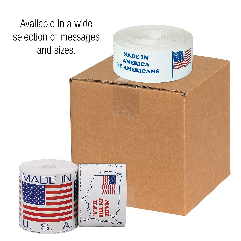 5//8 x 5//8 Tape Logic Labels,Made in U.S.A. 500//Roll Red//White//Blue